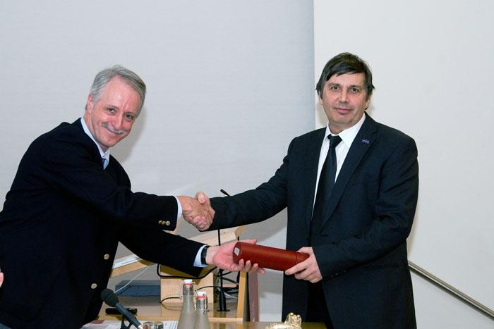Professor John Pethican with Professor Andre Geim